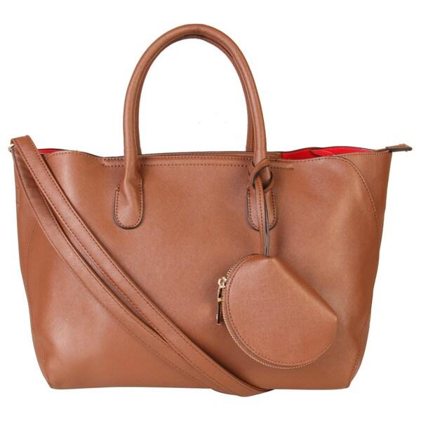 Rimen & Co. Saffiano PU Leather Large Capacity Tote Handbag with Mini Coin Bag