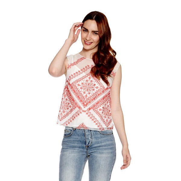 Cynthia Vincent Embroidered Shell Tank