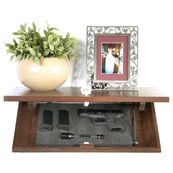 Floating Decorative Espresso Wall Shelf with Hidden Locking Security Compartment