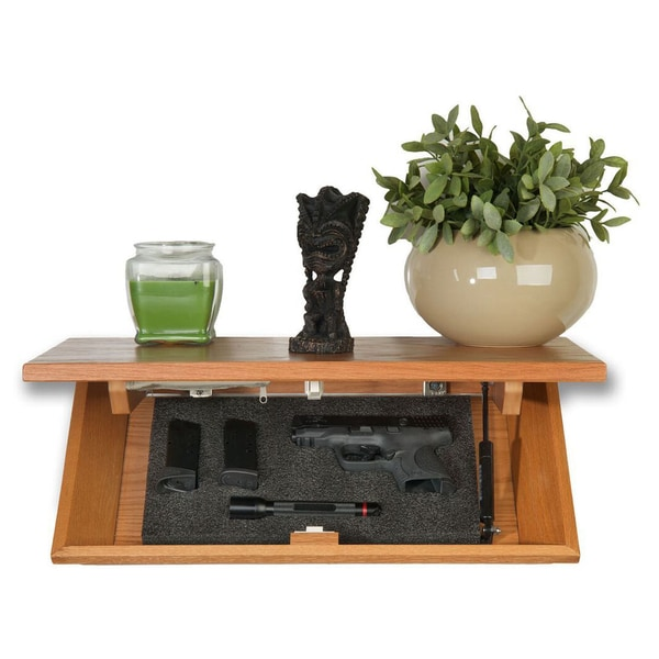 Floating Decorative Oak Wall Shelf with Hidden Locking Security Compartment