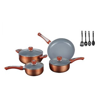 Gourmet Chef 7-piece Ceramic Cookware Set with Bonus Utensils