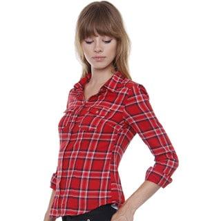 Juniors' Twill Plaid Button-down Shirt