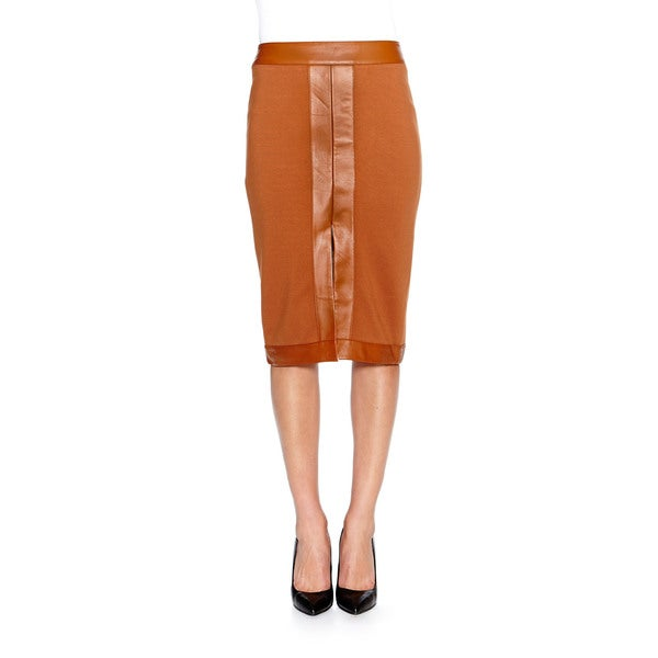 Bailey44 Ross Pencil Skirt with Faux Leather Trim in Caramel