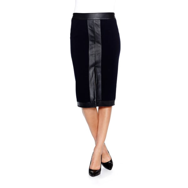 Bailey44 Ross Pencil Skirt with Faux Leather Trim in Navy