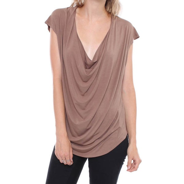 BestOn Chic Juniors' Mocha Brown Draped Neck Shirt
