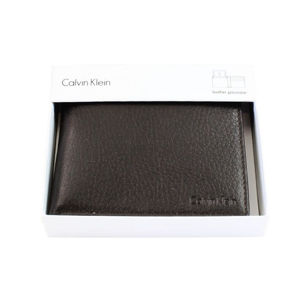 Calvin Klein Men's Brown Leather Billfold Wallet