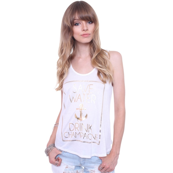 Popular Basics Juniors' Save Water Drink Champagne Tank Top