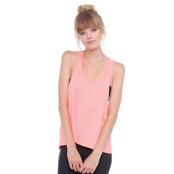 Contemporary Neon Coral Active Fit Yoga Racerback Tank Top