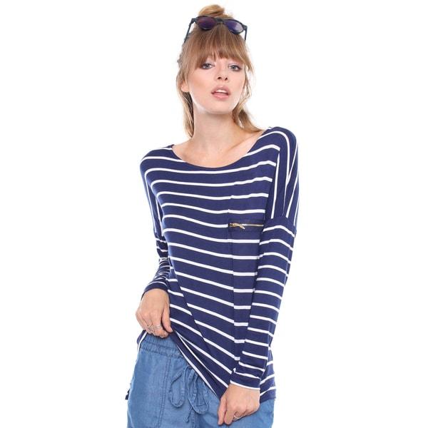 Juniors' Contemporary Striped Long Sleeve Shirt