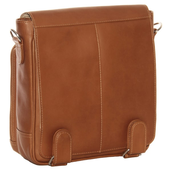 Piel Leather Double Loop 10-inch Vertical Tablet Messenger Bag