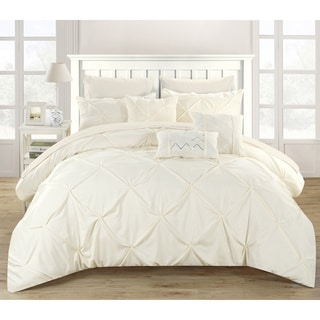 Chic Home Valentina Beige Pinch Pleated 10-Piece Bed in a Bag Set