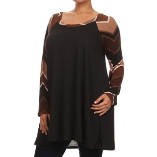 Women's Plus Size Chevron Sleeve Top