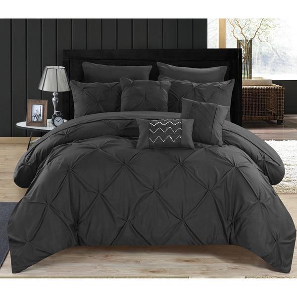 Chic Home 10 Piece Valentina Black Pinch Pleated Comforter