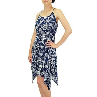 Relished Women's Contemporary Aloha Kai Navy Sleeveless Print Dress