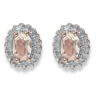 PalmBeach 1ct TCW Oval Genuine Morganite and Topaz Halo Stud Earrings in Rose-Plated Sterling Silver
