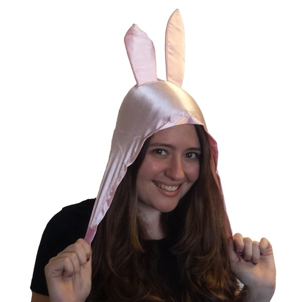 Louise Bunny Ears Hat Bob's Burgers Belcher Cartoon Rabbit Pink Hood Costume