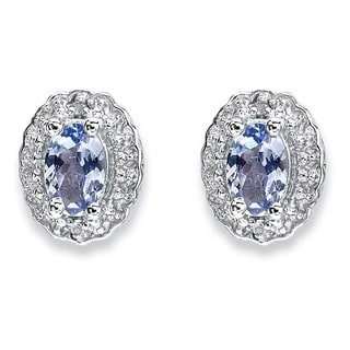 PalmBeach 1.04 TCW Oval Genuine Tanzanite and Topaz Stud Earrings in Rhodium-Plated Sterling Silver
