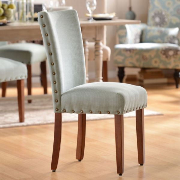 elliya fabric white nailheads parsons chairs set of 2 17915279