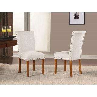 Elliya Fabric White Nailheads Parsons Chairs (Set of 2)