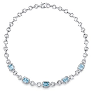 PalmBeach 12ct TCW Genuine Emerald-Cut Blue Topaz and Diamond Accent Halo Necklace in Silvertone 17-inch