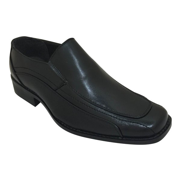 Men's Black Slip On Stitching Detail Oxford Dress Shoe