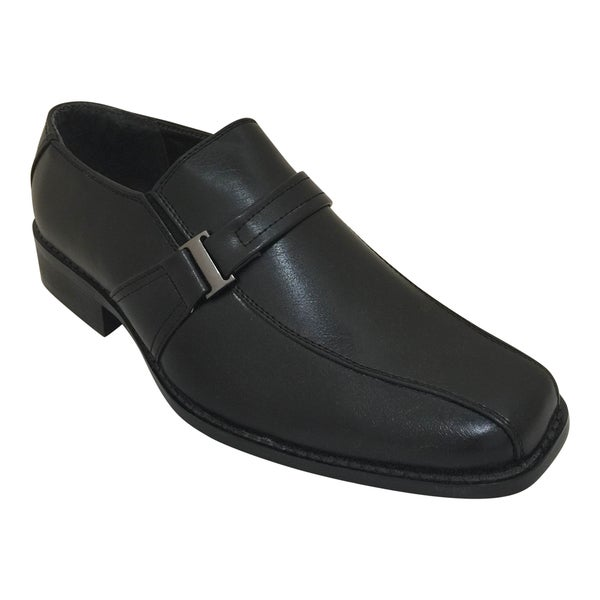 Men's Black Slip On Strap Oxford Dress Shoe