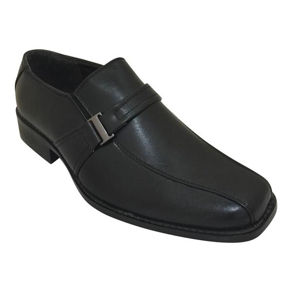 Men's Black Slip On Strap Oxford Dress Shoe