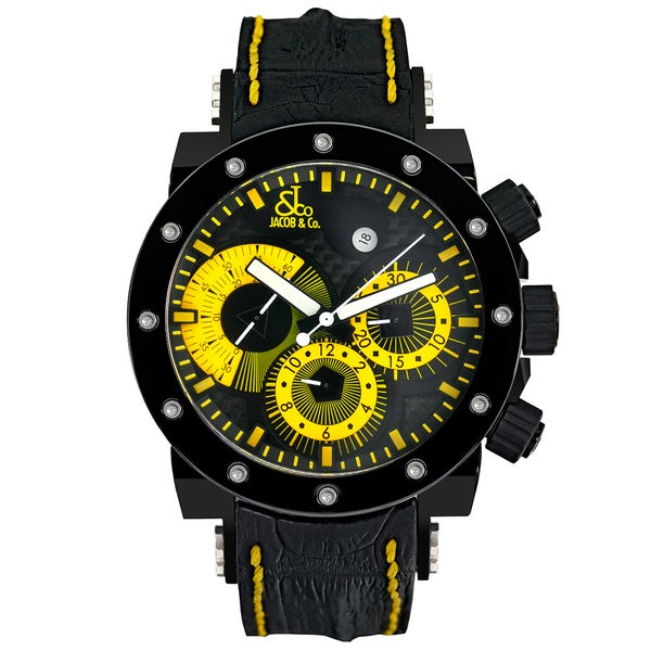 "Jacob and Company Epic II ""Limited Edition"" E14 Unisex Carbon Fiber Yellow Dial Watch"