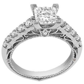 Verragio 18k White Gold 1/2ct TDW Diamond and CZ Center Semi Mount Ring (F-G, VS1-VS2)