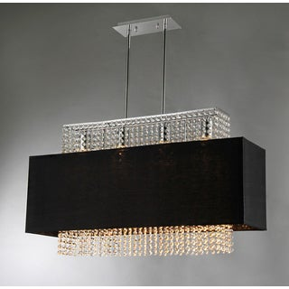 Rosanna 4-light Black Fabric 33-inch Chrome Chandelier