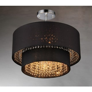 Hazel 6-light Black Fabric 21-inch Chrome Chandelier