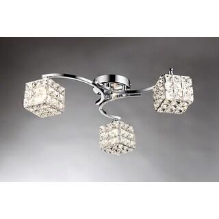 Liel 3-light Glass 22-inch Chrome Ceiling Lamp
