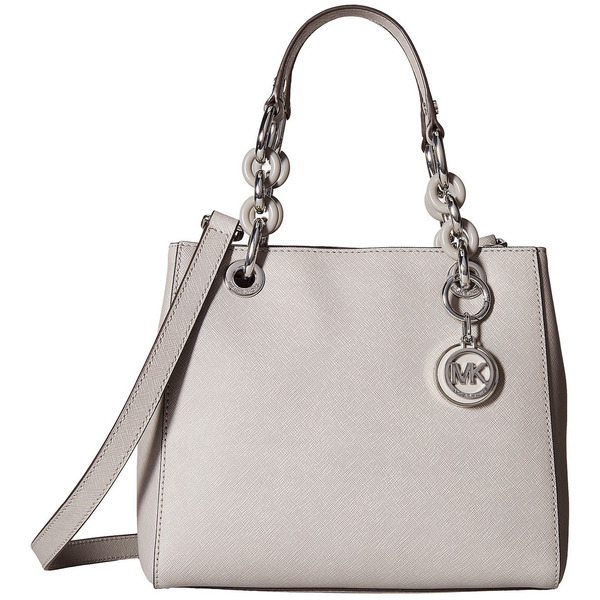 MICHAEL Michael Kors Cynthia Small North South Pearl Grey Satchel