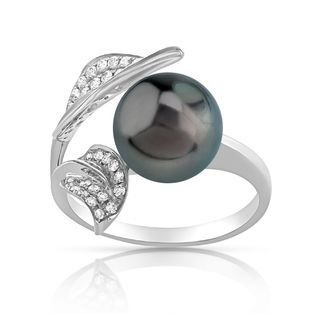 Radiance Pearl 14k Gold Tahitian South Sea Pearl and Diamond Accent Ring (9mm)