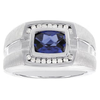 H Star Sterling Silver Created Sapphire Checkerboard Cushion and 1/8ct TDW Diamond Men's Ring (H-I, I2-I3)