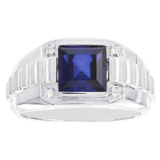 H Star Sterling Silver Created Sapphire and .04ct TDW Diamond Men's Ring (I-J, I2-I3)