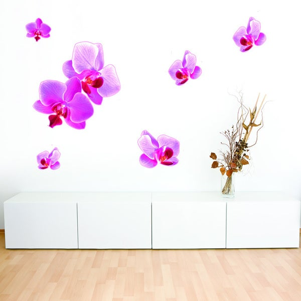 Pink Orchid Floral Wall Decal