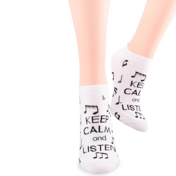 TeeHee 'Keep Calm and Listen' Music Lovers Cotton Crew Socks