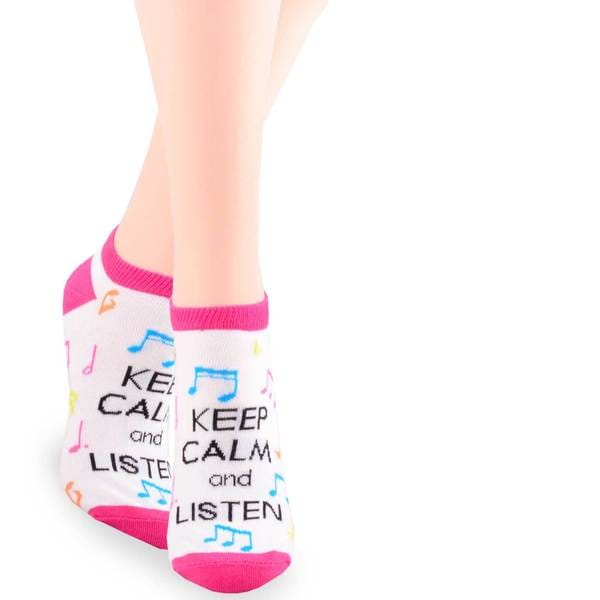 TeeHee Pink Multicolored 'Keep Calm and Listen' Cotton Crew Socks
