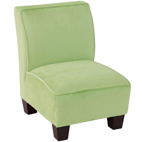 Skyline Furniture Velour Green Kids Slipper Chair