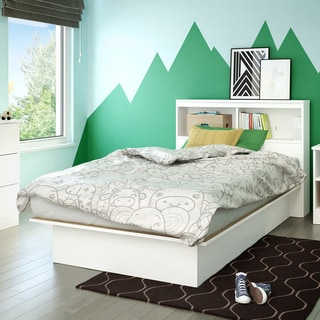 South Shore Libra Twin Platform Bed with 39-inch Bookcase Headboard