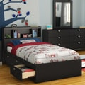 South Shore Spark Twin Mates Bed with Drawers and Bookcase Headboard Set