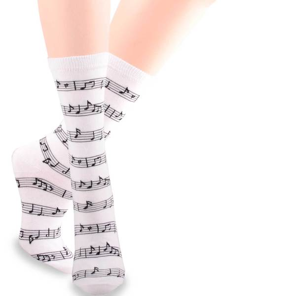 TeeHee Music Lovers White Cotton Crew Socks