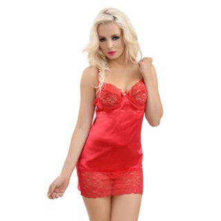 Popsi Lingerie Seductive Red Chemise with Matching Panty