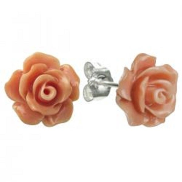 Queenberry Sterling Silver Stimulated Pink Orange Coral Rose 10mm Stud Earrings