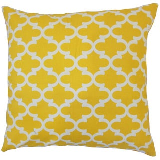 Benoite Yellow Geometric 18-inch Feather and Down Filled Throw Pillow