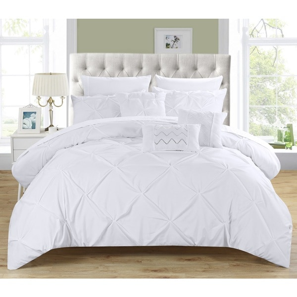 Chic Home 10-Piece Valentina White Pinch Pleated Comforter Bed in a Bag with Microfiber Sheet Set