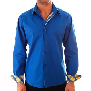 Luciano Mens Slim Fit Cotton Shirt by Vince Barbera Royal Blue