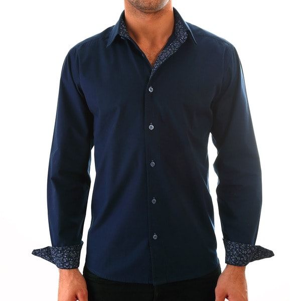 Luciano Mens Slim Fit Cotton Shirt by Vince Barbera Navy