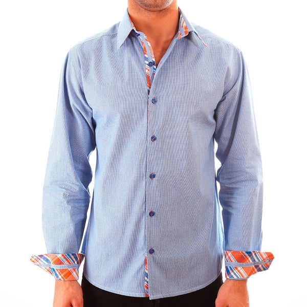 Luciano Mens Slim Fit Cotton Shirt by Vince Barbera Blue